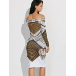 Off Shoulder Geometric Bodycon Dress with Long Sleeves deal