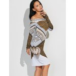 cheap Off Shoulder Geometric Bodycon Dress with Long Sleeves