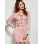 Front Tie Long Sleeve Bodycon Casual Dress deal