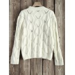 cheap Cut Out Floral Embroidered Sweater