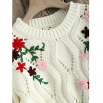 Cut Out Floral Embroidered Sweater photo