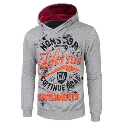 Graphic Print Drawstring Pullover Hoodie