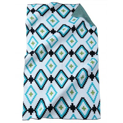 Geometric Pattern Soft Acrylic Knitted Rectangle Blanket
