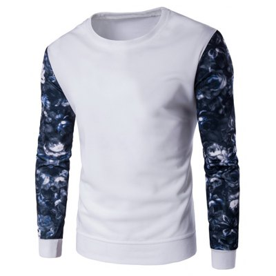 Long Sleeve Floral Printed Crew Neck Sweatshirt