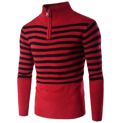 Half Zip Up Stand Collar Striped Sweater