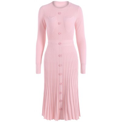 Front Pockets Wool Pleated Dress