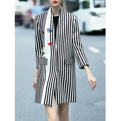 Striped Face Print Walker Coat With Buttons