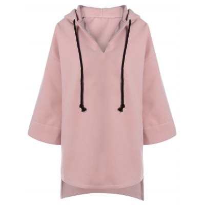 Drawstring High Low Hooded Coat