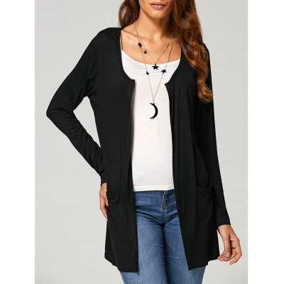 Open Front Pocket Collarless Cardigan