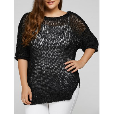 Plus Size Side Slit Hollow Out Sweater