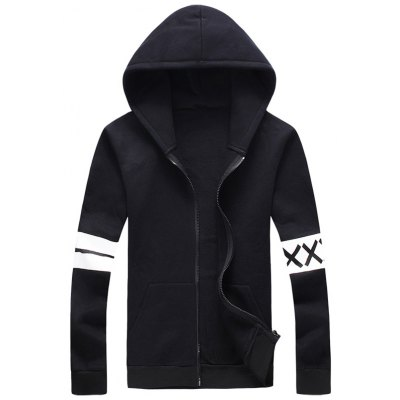 Plus Size Stripe and Graphic Print Hooded Zip-Up Hoodie