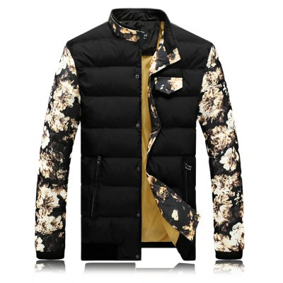 Stand Collar Florals Print Splicing Zip-Up Padded Jacket