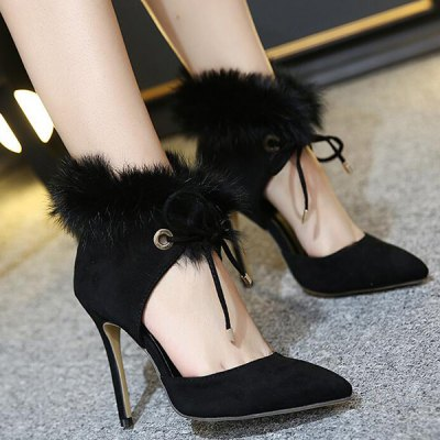 Furry Pointed Toe Pumps