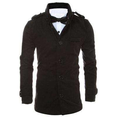 Epaulet Design Button Up Woolen Jacket