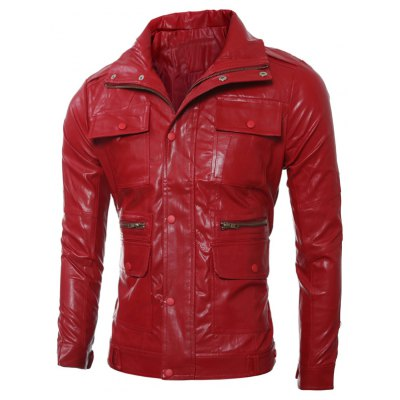 Zippered Faux Leather Jacket