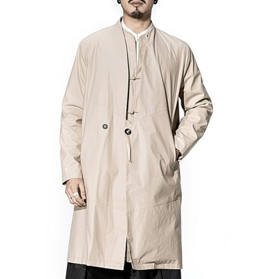 Collarless Side Pocket One Button Coat