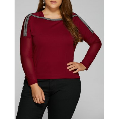 Plus Size Sheer Sleeve Drop Shoulder T-Shirt
