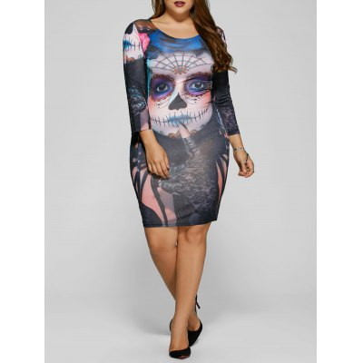 Devil Skull Print Halloween Bodycon Dress