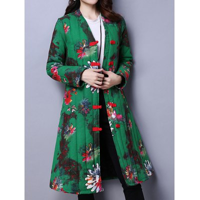 Floral Print A Line Padded Coat
