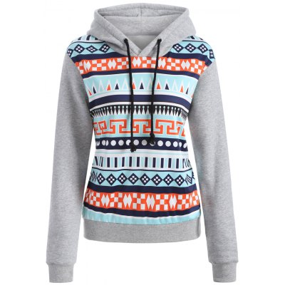 Casual Drawstring Geometric Pullover Hoodie