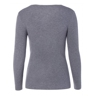 V Neck Fitted Pullover Sweater