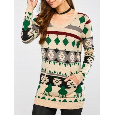 Crew Neck Geometric Pullover Knit Sweater