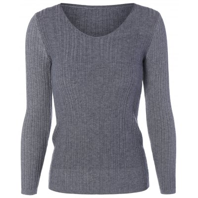 Long Sleeve Knit Fitted Sweater
