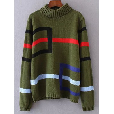 Turtleneck Geometry Jacquard Pullover Sweater