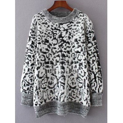 Leopard Jacquard Pullover Sweater
