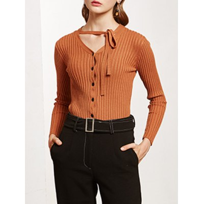 Pullover Buttoned Tied-Up Knitwear
