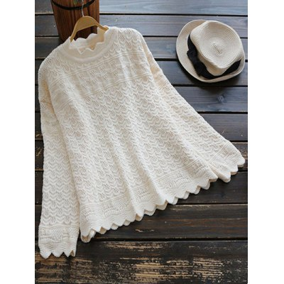 Open Stitch Scalloped Jumper