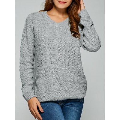 Comfy Double Pockets Cable Knit Sweater