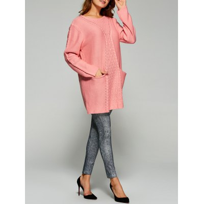 Long Drop Shoulder Butterfly Cable Knit Sweater