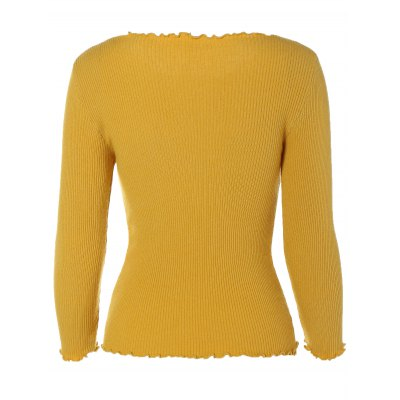 Long Sleeve Fitted Short Knit Pullover Sweater