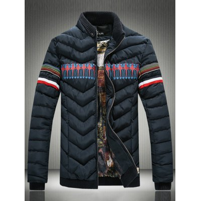 Rib Spliced Stand Collar Stripe Selvedge Embellished Padded Jacket