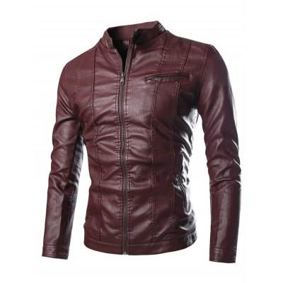 PU-Leather Stand Collar Zipper Embellished Flocking Jacket