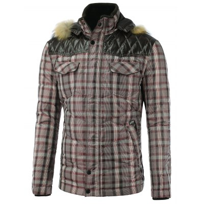 PU Spliced Checkered Hooded Quilted Jacket