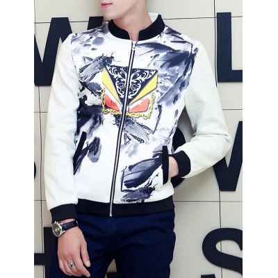 Stand Collar Insect Wash Painting Print Zip-Up Jacket