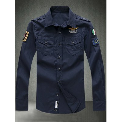 Turn-Down Collar Embroidered Appliques Long Sleeve Shirt