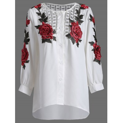 Rose Embroidery Openwork Blouse