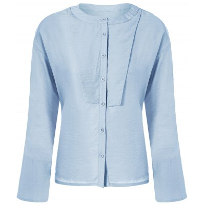 Buttoned Bell Sleeves Blouse
