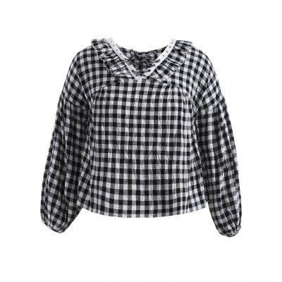 Lace-Up Checked Ruffles Loose Blouse