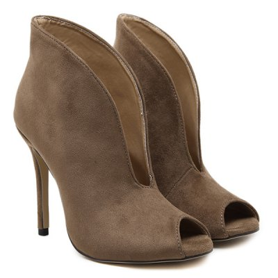 Stiletto Heel Cut Out Peep Toe Boots