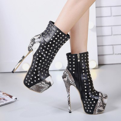 Stiletto Heel Snake Pattern Studded Boots