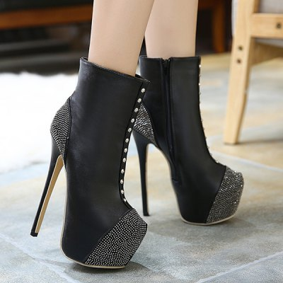 Rivet Platform High Heel Boots