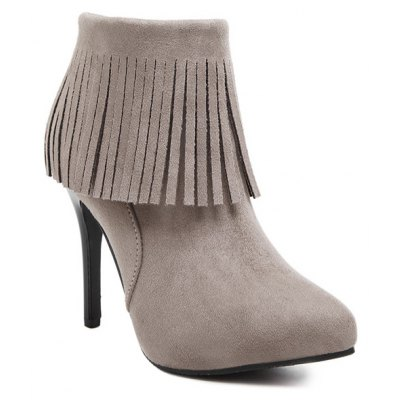 Suede Stiletto Heel Pointed Toe Fringe Boots