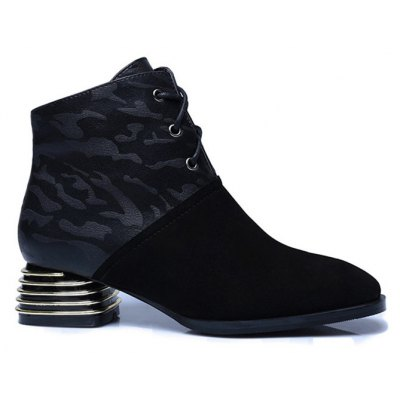 Lace Up Suqare Toe Chunky Heel Ankle Boots