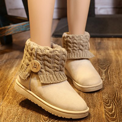 Cable Knitted Flock Snow Boots