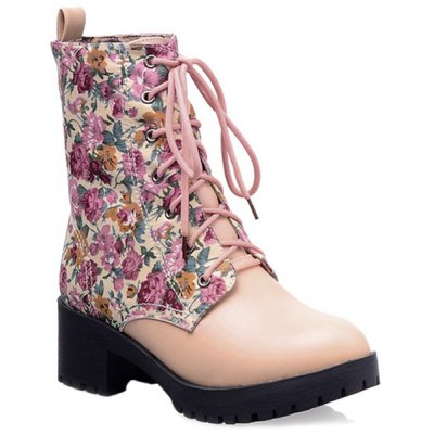 Floral Print Tie Up Short Boots