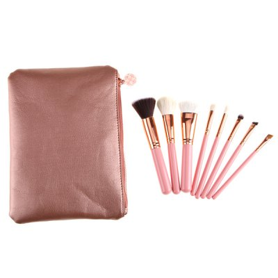 8 Pcs Goat Hair Makeup Brushes Set with Brush Bag